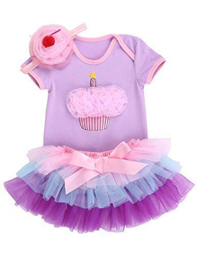 Girl Clothes 1st Birthday Outfit Newborn Dress Rainbow w/ Headband Violet Cake #Smilsheep