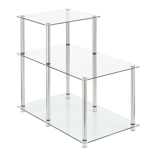 Convenience Concepts 157045 3 Tier Step End Table In Glass Transparent Transitional Bellacor End Tables American Home Furniture Glass End Tables