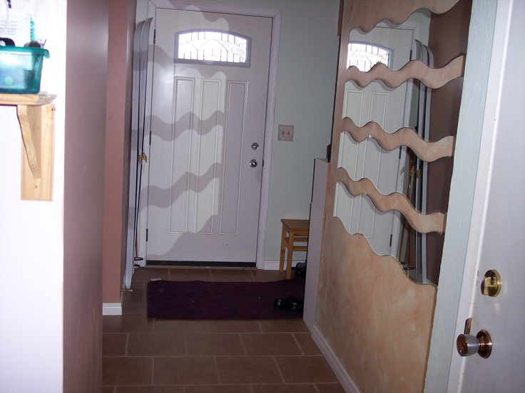 Front hall after renos.  Tile by Ivo of Julia's Alpine Gardens.  Paint, mirrors selected by me, painting done by me, Dorothy.