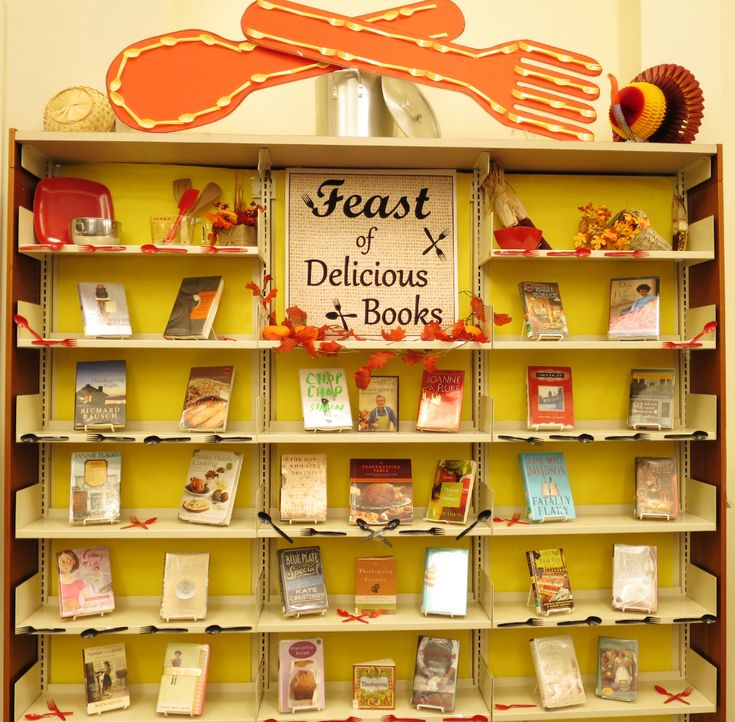 Our Main Fiction display: A Feast of Delicious Books!