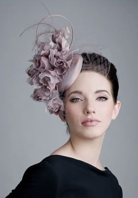 Rachel Trevor Morgan, Milliner RH0820 - Dusty pink taffeta pillbox with roses and face veil