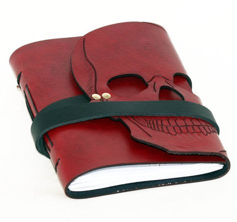 Leather journal, gothic journal, leather bound, sketch book, travel journal, handmade journal, diary, journal, red journal, skull journal