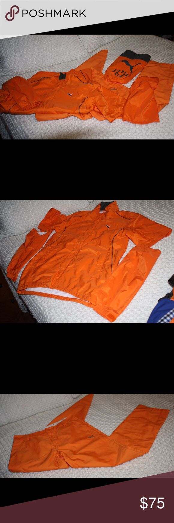 Puma Golf Rain Suit Brand new rain suit. My son took the tags off put it in his bag and never used it. The bottom is a little off from the top nothing that is too noticeable. The sleeves are detachable and there is a bag for it. Puma Jackets & Coats Raincoats
