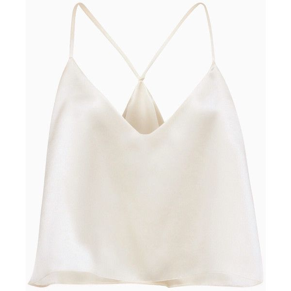 NEW! Sara Festival Top, Double Silk Camisole, Women's Summer Top,... (£170) ❤ liked on Polyvore featuring tops, halter top, white silk top, silk crop top, crop top and silk camisole tops
