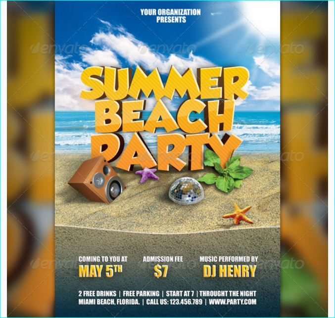 summer beach party flyer party flyer templates for clubs busine