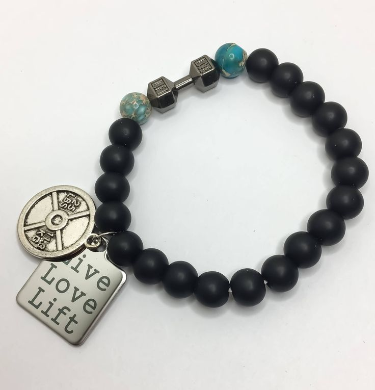 LIVE, LIFT Fitness Bracelet, Weightlifting, Bodybuilding, Fitness Jewelry, Beaded Bracelet, Gift Idea, Gym Jewelry, Motivation Fitness Gifts by MissFitBoutiqueCA on Etsy https://www.etsy.com/ca/listing/558974478/live-lift-fitness-bracelet-weightlifting