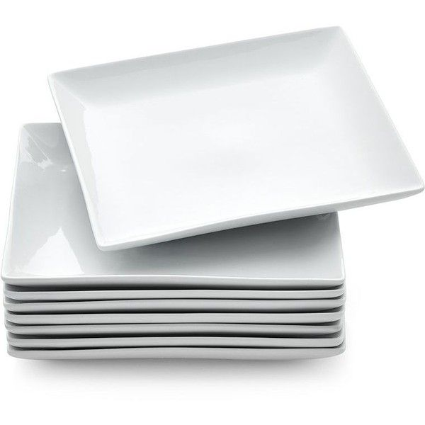 Crate & Barrel Set of 8 Court Dinner Plates ($45) ❤ liked on Polyvore featuring home, kitchen & dining, dinnerware, crate and barrel, white dinner plates, white square dinner plates, porcelain dinnerware and white dinnerware