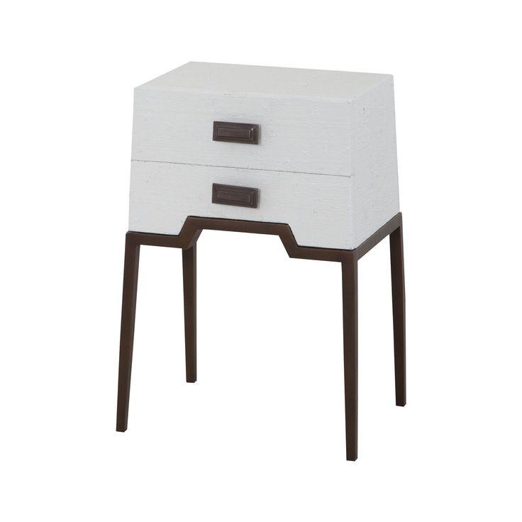 Ziggy White Accent Table Natural Raffia,White,Aged Brass Tone