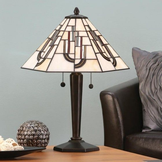 Chicago Bronze Medium Table Lamp A contemporary art deco design inspired by the ages of decadence. H:550 W:410 D:410 Bulbs:2 x 60 E27 Fittings:DB133M Shade:T031SH40