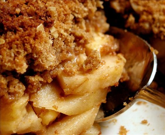 "Apple Crisp: ""Crispy, crunchy topping, not too sweet, not soupy or runny. Perfect. We ate it warm with whipped cream on top."" -Bridget Leigh"