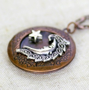 Silver Moon and Star Filigree Copper Locket by FromHKwithLove