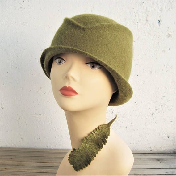 Women's olive  hat Olive green hat Felted hat Women's