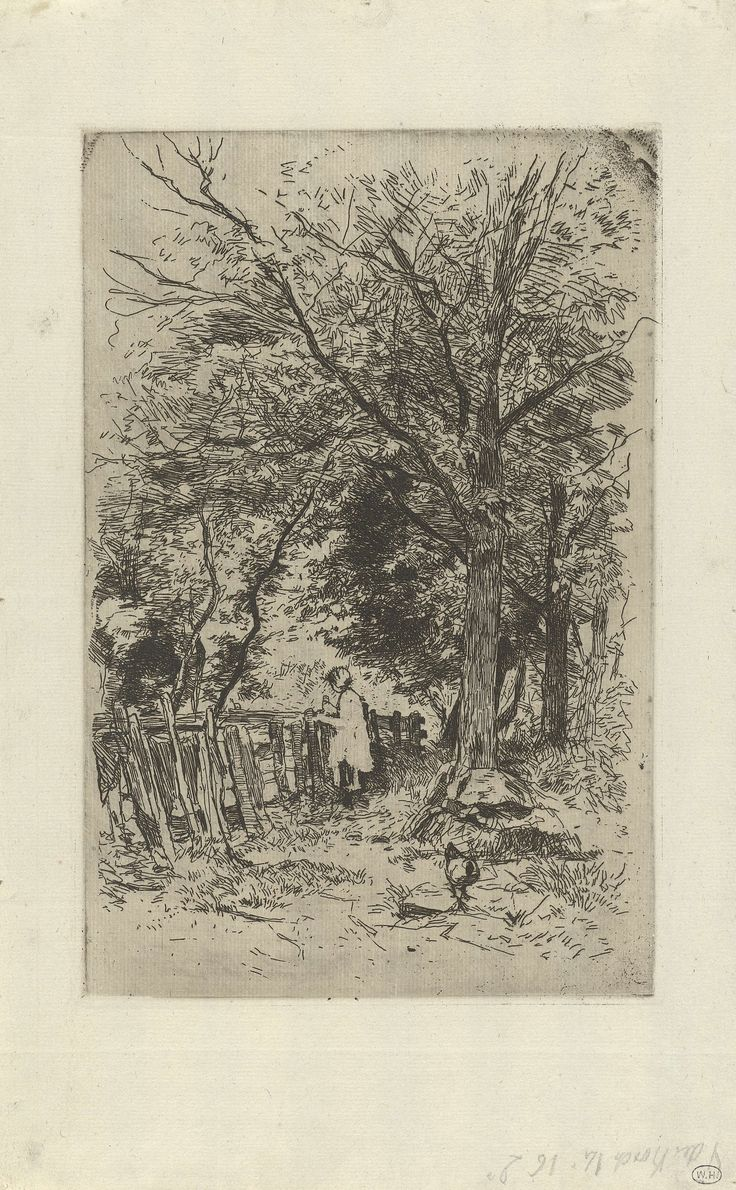 Anton Mauve   Bij Kranenburg, Anton Mauve, c. 1848 - c. 1888   Een meisje kijkt over een hek. Rechts geboomte en een kip op de voorgrond.