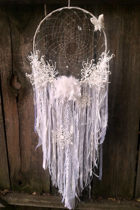 I absolutely LOVE LOVE LOVE this dream catcher.  Beautiful!  Handmade Large Dream Catcher Winter Wonderland by DreamRaes, $125.00