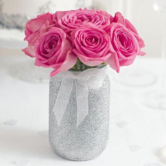 glittered mason jar  gold or silver  Wedding decor  by evescrafts