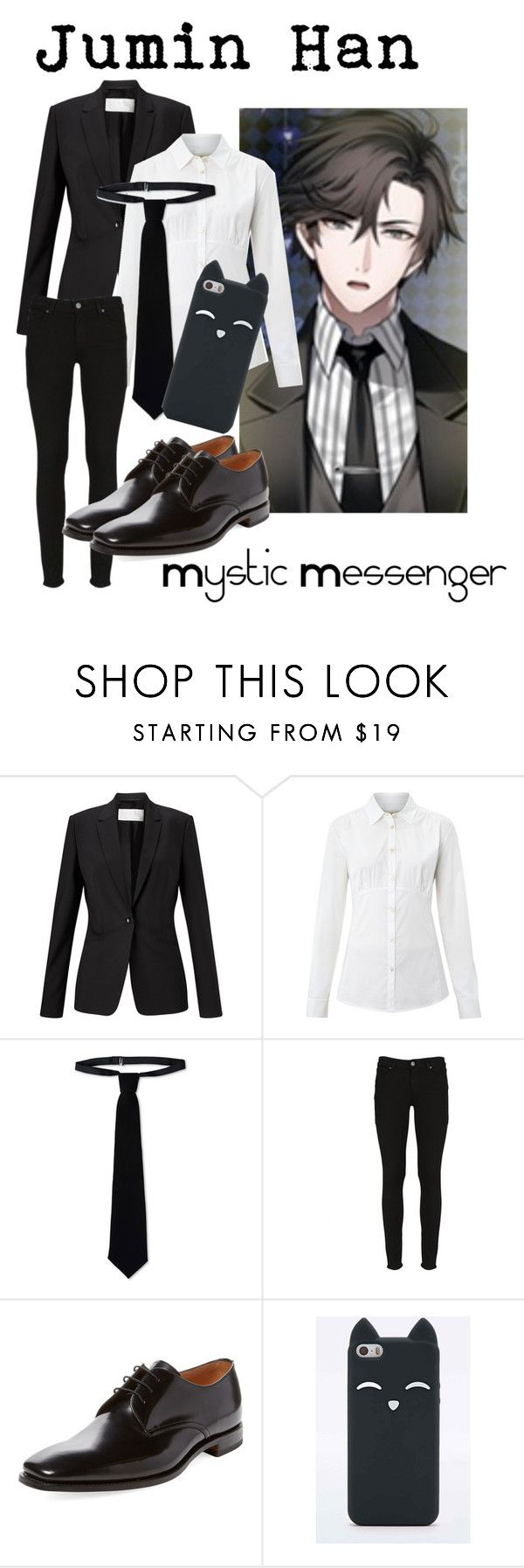 """Jumin Han from Mystic Messenger"" by kayxiv1256 ❤ liked on Polyvore featuring HUGO, Weekend Max Mara, RED Valentino, Paige Denim and Loake"