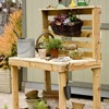 Directions to make your own potting bench, but directions could easily be modified to make kitchen island or another piece of furniture.: Pots Tables, Pallets Gardens, Wooden Pallets, Gardens Table, Pallets Ideas, Wood Pallets, Pots Benches, Pallets Projects, Gardens Benches