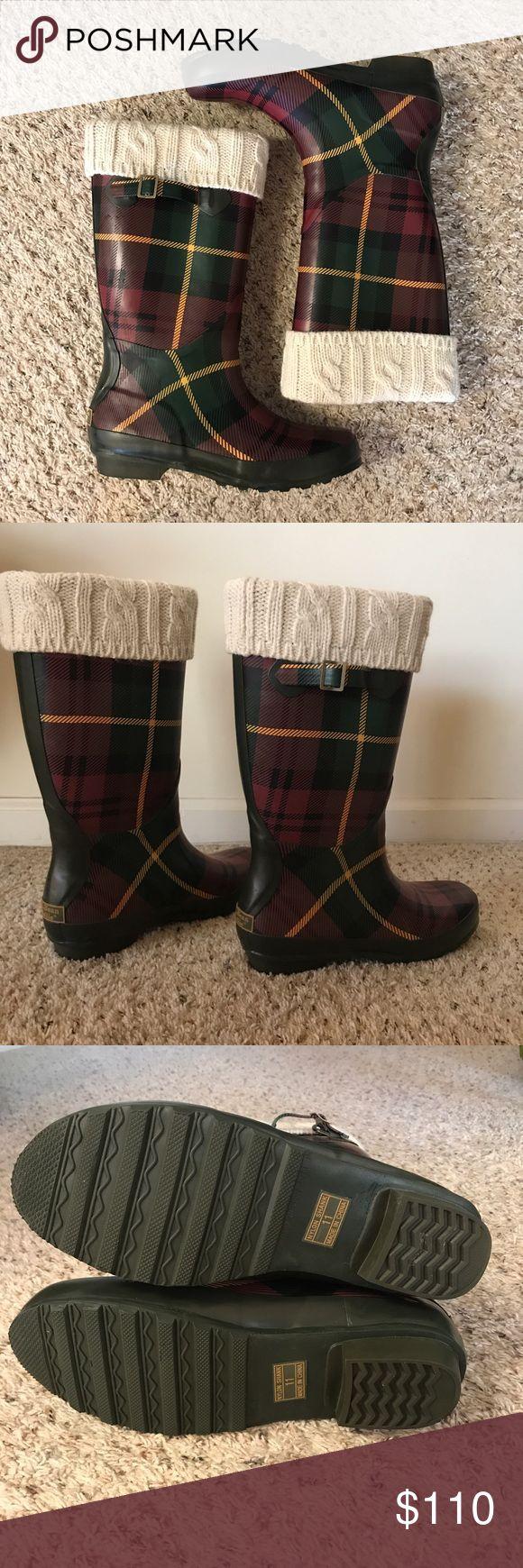 L.L.Bean Wellie rain boots L.L.Bean Wellie plaid rain boots with warmers size 11M in excellent condition L.L. Bean Shoes Winter & Rain Boots
