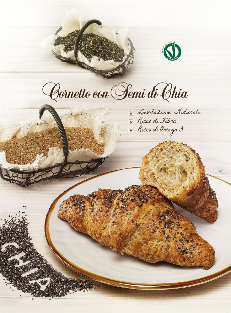Cornetto vegan ai semi di chia, ricco di fibra e ricco di omega3