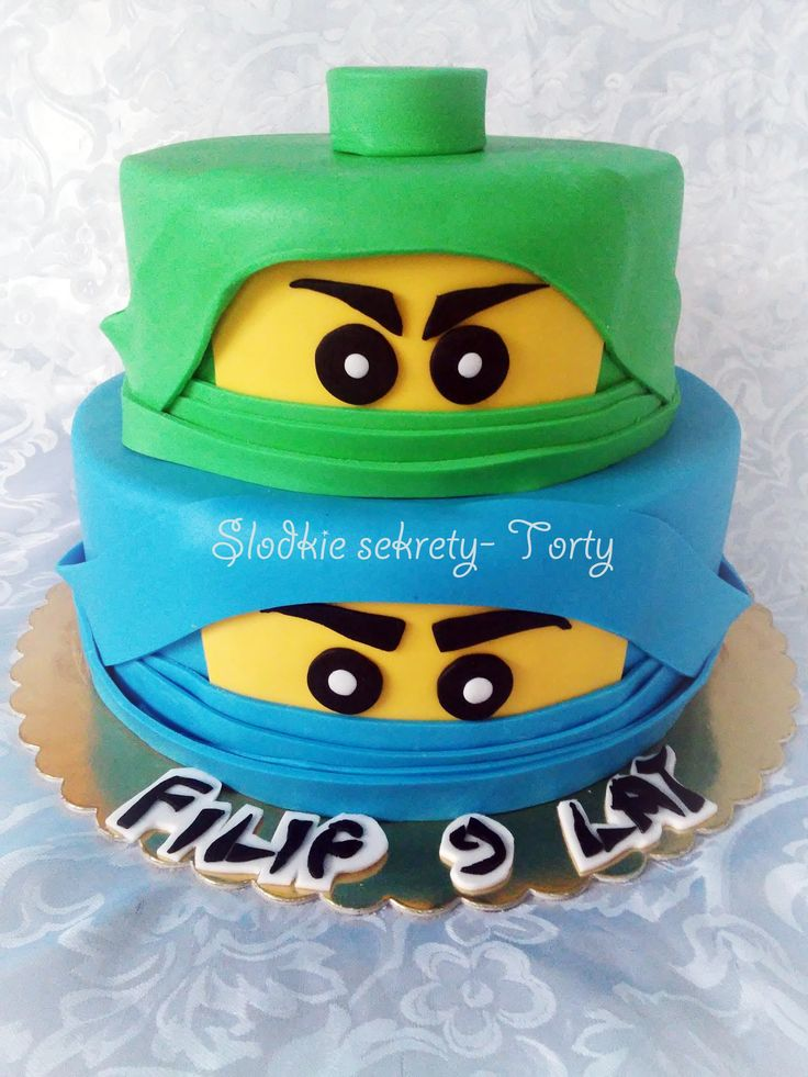 Tort Ninjago/ Lego Niniago cake blue green, two tier