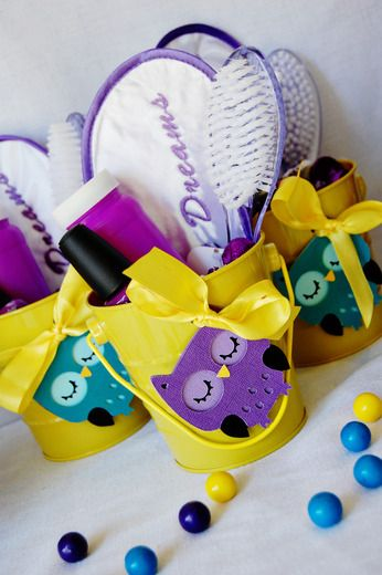 Night Owl Slumber party favors! This is great! Put a brush, some smell good lotion, a tooth brush, nail polish...(Other things that the girls may need for the night of fun) and that's their party favor. Cute but also practical.