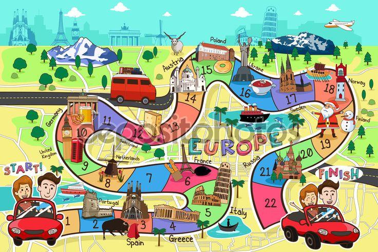 Gra planszowa podróż projekt — Ilustracja stockowa #100218594