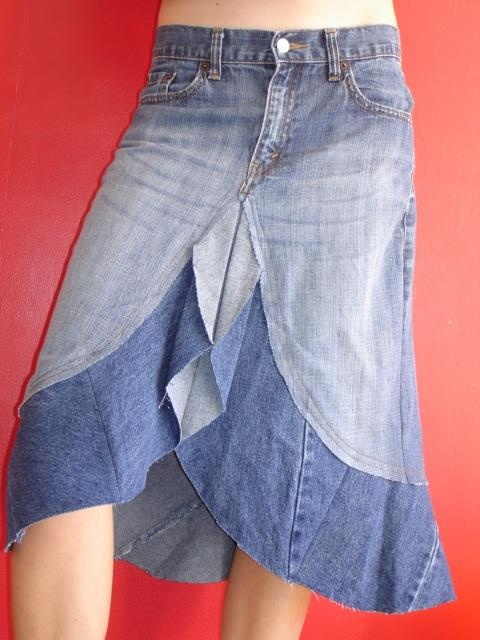 up-cycled jeans skirt - different from any I've seen before...would need to be longer but cute