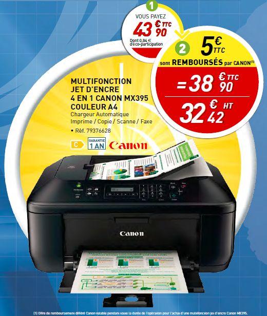 Imprimante Canon multifonction Jet d'encre 4 en 1 - MX395 couleur A4 : http://www.bureau-vallee.fr/multi-je-mx395-canon-coul-4en1-chargeur-auto-65673.html