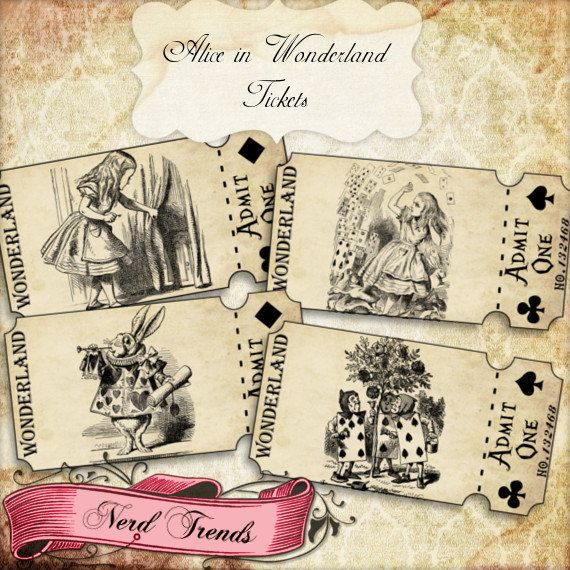 Alice in Wonderland inspired Vintage Tickets. Great for use in any occasion to add that perfect touch!    **INSTANT DOWNLOAD, NO SHIPPING**