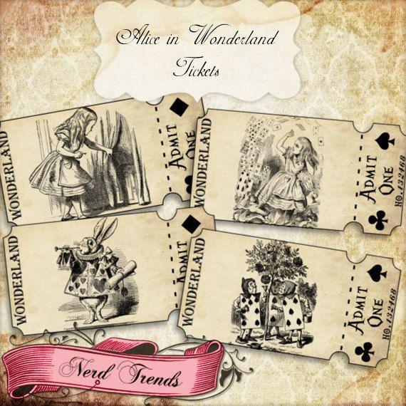 Alice in Wonderland Ticket Strips, Vintage Alice Tickets, Wonderland Party, Printable Tickets, Vintage Alice, INSTANT DOWNLOAD