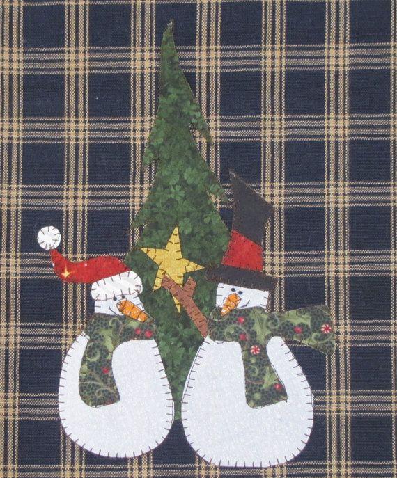 Boneco de neve Amigos Applique PDF padrão para toalha de chá