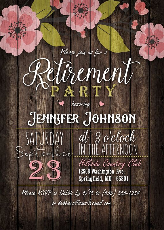 Rustic Pink & Green Floral Retirement Party by YourSeasons on Etsy