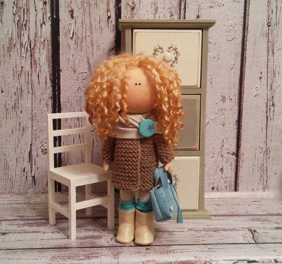 Decor doll Tilda doll Art doll handmade brunette yellow colors Rag doll Soft doll Cloth doll Fabric doll Home doll by Master Irina Bukina