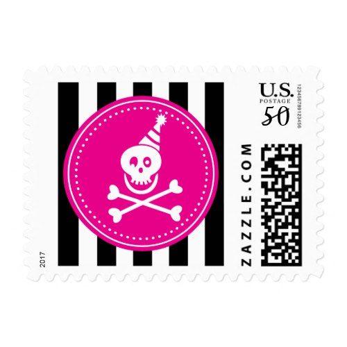 Pirate Girls Skull Pink Black Birthday Party Hat Postage