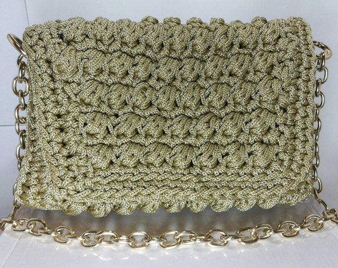 Beige Women's Crochet Handbag with gold metalic embelishment/Knitted
