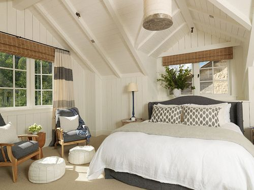 Grey And White Bedroom Warmed Up With Wood Tones Nice White Tongue And Groove Walls And Ceiling