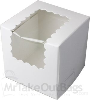 "4 x 4 x 4"" White Individual Cupcake Boxes with Window (100 / case)"