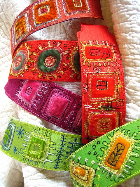 cuff bracelets of layered stitched and embellished fabrics - by Dog Daisychains