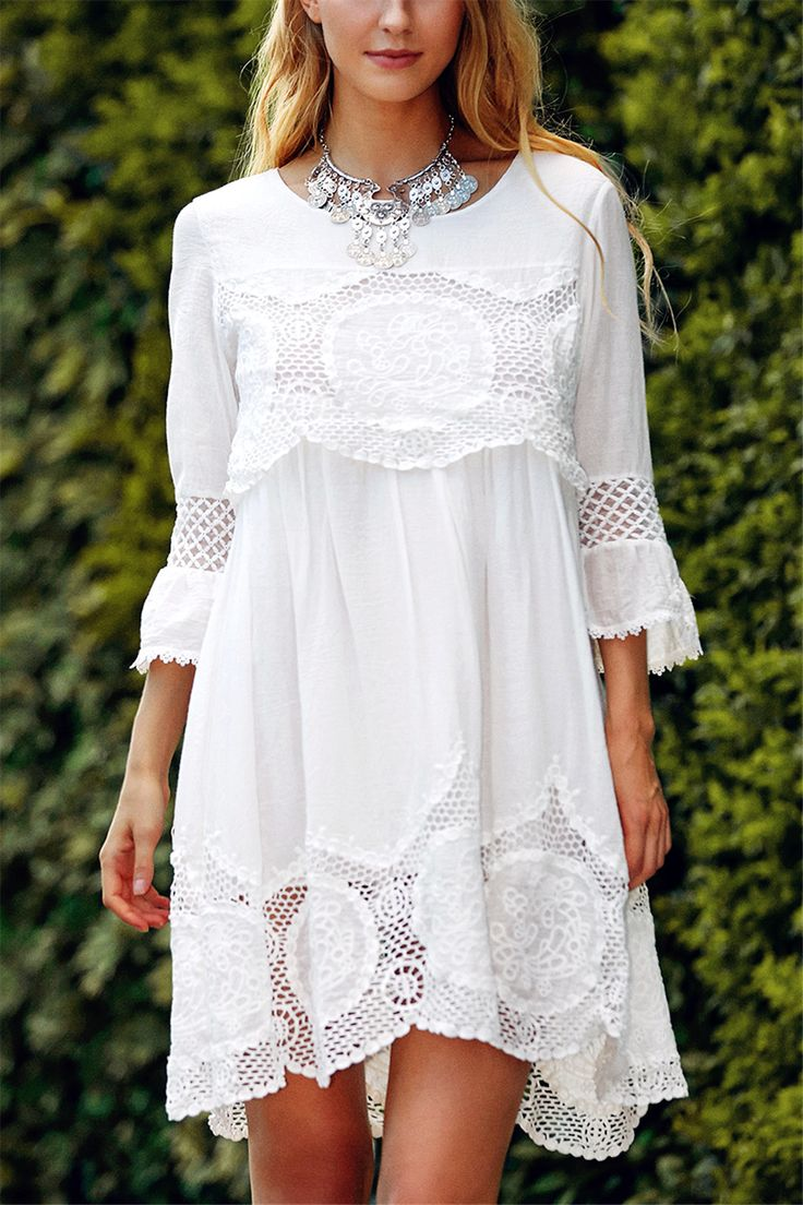 $18.74 Fashionable Scoop Neck 3/4 Sleeve Lace Splicing Dress
