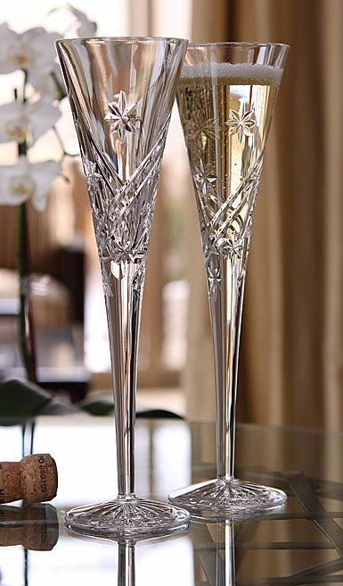 Our Waterford Crystal toasting flutes. beautiful...thanks Mom & Sissy!