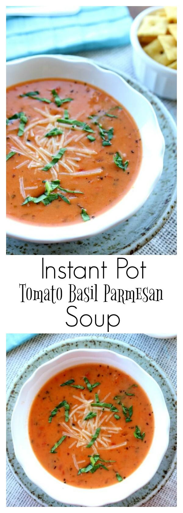 Instant Pot Tomato Basil Parmesan Soup– a creamy tomato based soup that is made from start to finish in 45 minutes thanks to the help of your pressure cooker. This is my favorite soup to make for company. I always get tons of compliments. I don't believe I've tasted soup at a restaurant that is as good as this version.
