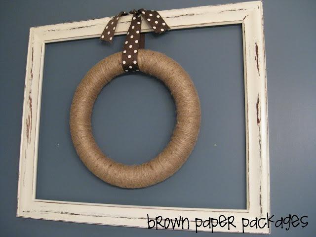 framed twine wreath