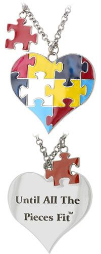 """""""Until All the Pieces Fit"""" Autism Awareness Heart Necklace at The Autism Site.  Every Purchase Funds Research and Therapy to Help Children with Autism."""