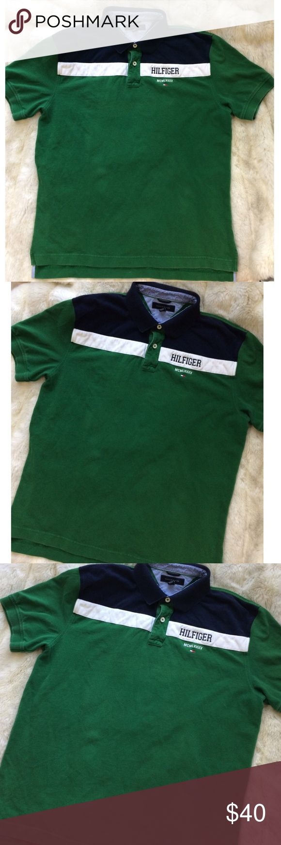 Tommy Hilfiger Green Striped Collared Polo Shirt XL men's, I wore it styled oversized with tights and sneakers. Tommy Hilfiger brand. Green color striped color block navy blue and white, classic flag patch embroidered Hilfiger on front. Classic collared polo shirt. Good condition light wear no significant flaws. FREE SURPRISE GIFT WITH EVERY ORDER! Tommy Hilfiger Shirts Polos
