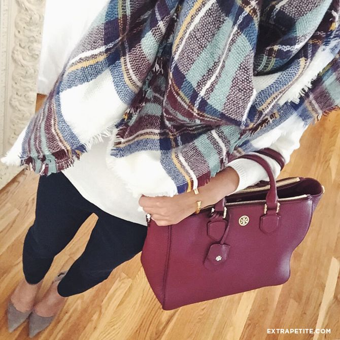 business casual or casual friday outfit - banana republic sloan skinny ankle pants, cream sweater, oversized plaid blanket scarf, tory burch robinson tote bag