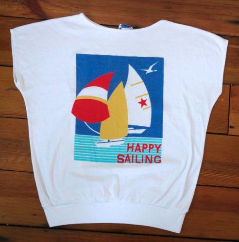 Vintage 70s 80s HAPPY SAILING Nautical Graphic Sailboat Batwing T-Shirt Womens M