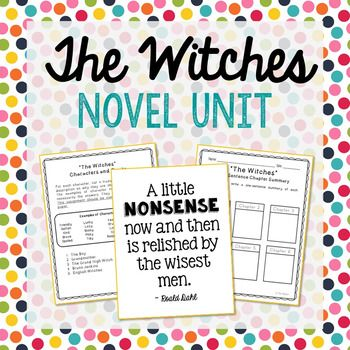 The Witches by Roald Dahl Novel Unit Study. This novel unit includes vocabulary terms, poetry, author biography research, themes, character traits, chapter summary, and note taking activities. If you're looking for a complete book unit that is full of higher-level activities and NOT boring multiple choice tests, then this is it!