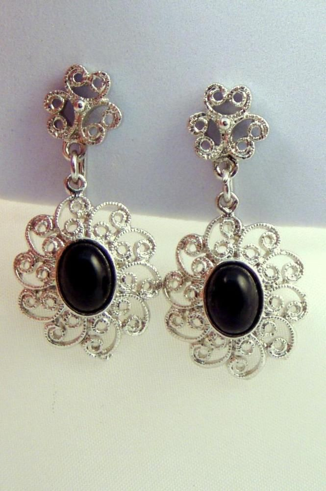 Amway St Filigree Dangles Black Ovals Vtg Clip Earrings Ebay