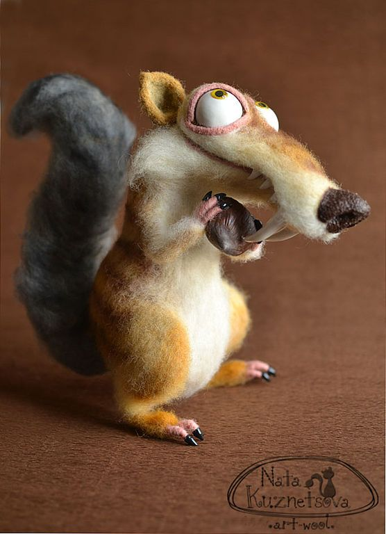 "NATALIA KUZNETSOVA - (artwool) -- ""Scrat"" -- May 9, 2012 -- 26 cm..  Kardoches, Fimo, eyes - just like always :).  Handmade."