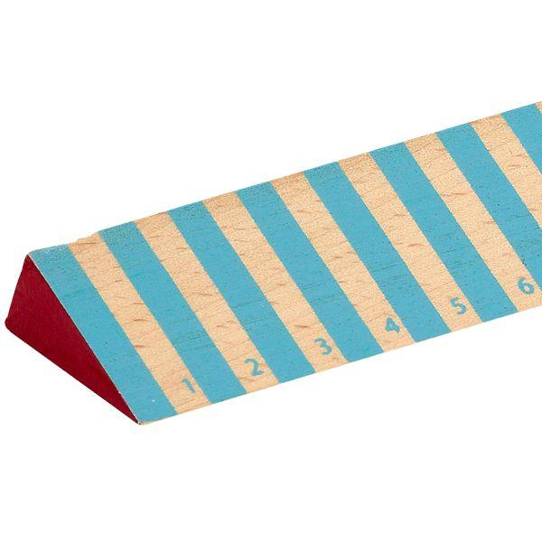 Righello di legno, strisce blu grosse